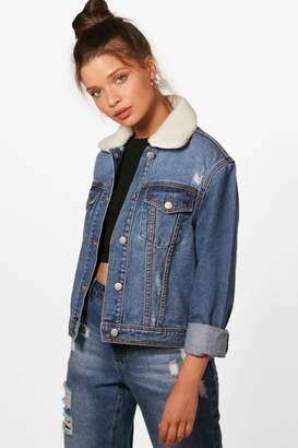 boohoo Slim Fit Borg Collar Denim Jacket