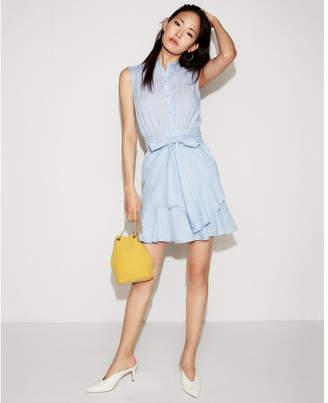 Express striped cotton ruffle wrap shirt dress
