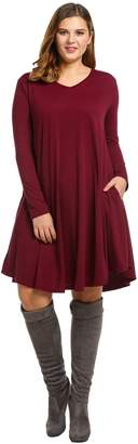 Meaneor Plus Size Women's Long Sleeve e Party Club Dress