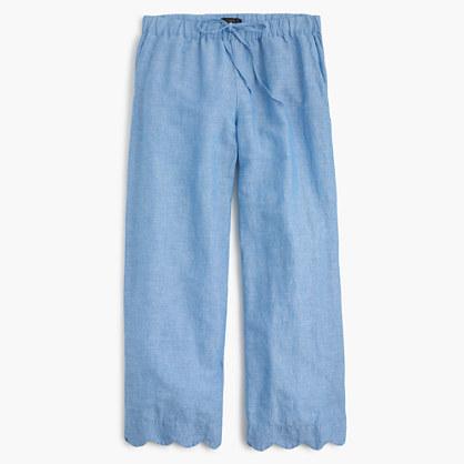 J.CrewScalloped linen-cotton beach pant
