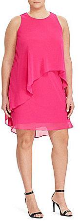 Lauren Ralph LaurenLauren Ralph Lauren Plus Georgette Asymmetrical Overlay Shift Dress
