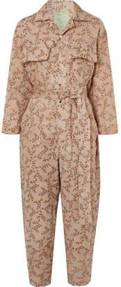 Yvonne S - Floral-print Linen Jumpsuit - Sand