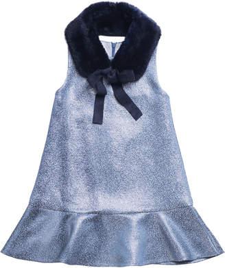 Imoga Sleeveless Metallic Dress w/ Faux Fur Shawl Collar, Size 4-6