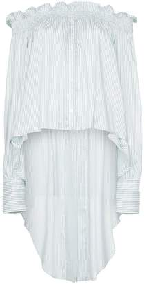 Faith Connexion striped off-shoulder asymmetric blouse