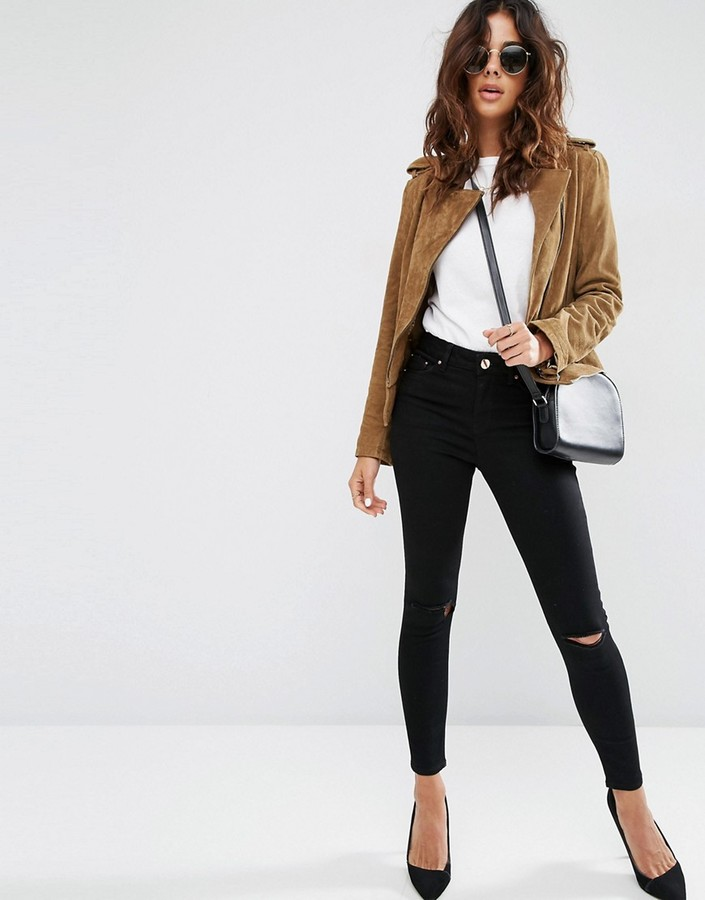 Asos Ridley Skinny Jeans In Clean Black With Rips