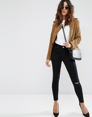 ASOS Ridley Skinny Jeans In Clean Black With Rips $46 thestylecure.com