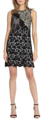 ML Monique Lhuillier Mixed Lace Shift Dress