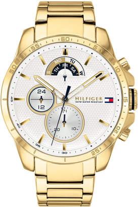 aba6a15f1 Tommy Hilfiger Men Gold-Tone Stainless Steel Bracelet Watch 46mm