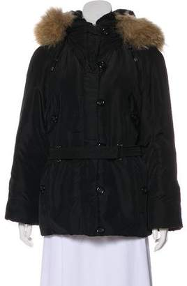 Max Mara Fur-Trimmed Belted Jacket