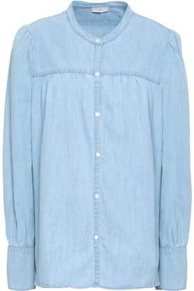 Joie Gathered Cotton And Silk-blend Chambray Shirt