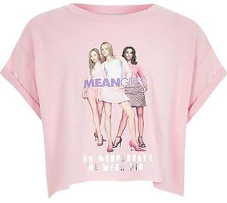 River Island Girls Pink Mean Girls design cropped T-shirt