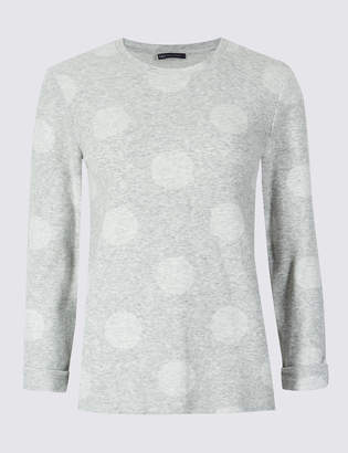 Marks and Spencer Spotted Round Neck Long Sleeve Sweatshirt