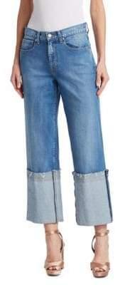 Oscar de la Renta Cuffed Wide-Leg Jeans