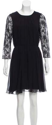 Alice + Olivia Silk Lace Accented Dress