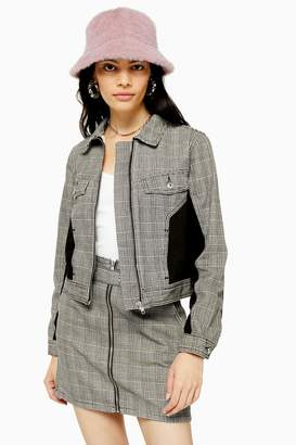 Topshop Checked Slim Fit Zip Front Jacket