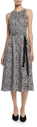 Derek Lam Sleeveless Poppy-Print Silk A-Line Dress w/ Ties