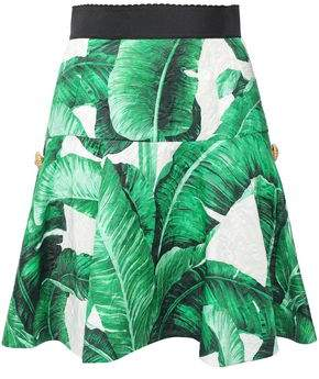 Dolce & Gabbana Embellished Floral-print Cotton And Silk-blend Matelasse Mini Skirt