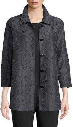 Caroline Rose Raised Circle-Jacquard Oval-Button Front Cocktail Shirt, Plus Size