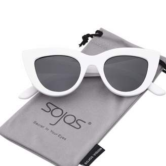 2f3690c1277 Cat Eye SOJOS Retro Vintage Cateye Sunglasses for Women Plastic Frame  Mirrored Lens SJ2939 with Black