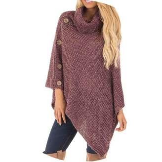 d02a17701539 Colorful-Day Sweater Winter Women s Knit Turtle Neck Poncho with Casual  Button Irregular Hem Pullover