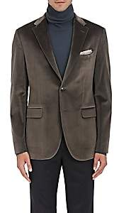 Boglioli Men's Velvet Two-Button Sportcoat-Gray