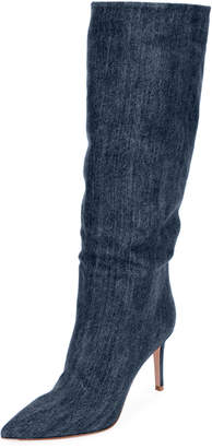 Gianvito Rossi Slouchy Denim Mid-Calf Boots