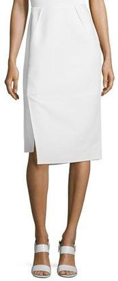 Lafayette 148 New York Sarah Asymmetric Pencil Skirt, Cloud $398 thestylecure.com