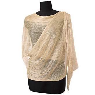 f60cf51eb64 MissShorthair Womens Wedding Evening Wrap Shawl Glitter Metallic Prom Party Scarf  with Fringe (955 . Amazon Canada MissShorthair Womens Wedding Evening ...
