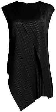 Pleats Please Issey Miyake Women's Drape Pleats Cap Sleeve Tunic Top