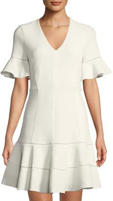 Rebecca Taylor Textured V-Neck Flounce Dress