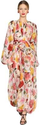 Dolce & Gabbana Rose Print Pleated Silk Chiffon Jumpsuit