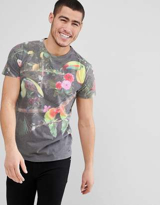 Solid T-Shirt in Tropical Birds Print