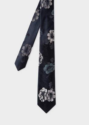 Paul Smith Men's Black 'Rose' Jacquard Narrow Silk Tie
