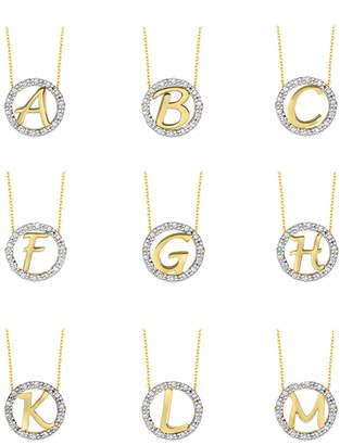 KC Designs 14k Yellow Gold Diamond Initial Necklace