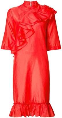 Tome mandarin collar ruffle dress