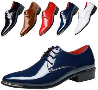 138bcf23e4b Verna s Bazaar Plus Size Mens Patent Leather Tuxedo Dress Shoes Lace Up Pointed  Toe Oxfords Formal