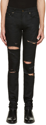 Saint Laurent Black Original Low Waisted Destroyed Skinny Jeans $890 thestylecure.com