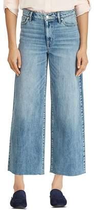 Ralph Lauren Wide-Leg Crop Raw-Hem Jeans in Blue