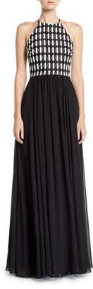 Badgley Mischka Sleeveless Geometric Lace Top Halter Gown w/ Georgette Skirt