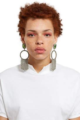 G.V.G.V. Rhinestone Hoop And Fringe Earrings