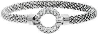 Sterling Silver Cubic Zirconia Circle Bangle Bracelet