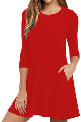 Hunter Bestisun Women's Fall Plain Half Sleeve Simple Loose Flowy Casual Womens Autumn Dresses Knee Length Autumn Dress Pair Jeans Boots Red XL