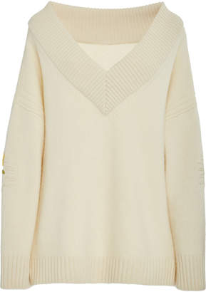 Oscar de la Renta Floral-Embroidered Ribbed Wool and Cashmere-Blend Sweater