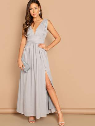 Shein Ruched Waistband High Split Plunge Prom Dress