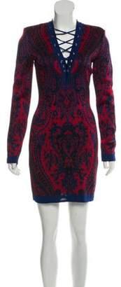 Balmain Structured Mini Dress Blue Structured Mini Dress