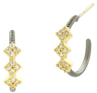 Freida Rothman Rose Drop Hoop Earrings