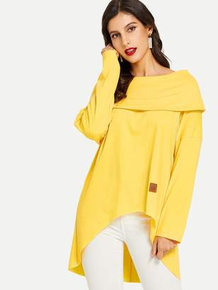 5955f891108541 Shein Drop Shoulder High-Low Off-Shoulder Sweatshirt