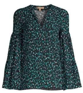 Michael Kors Women's Tierred Sleeve Animal Print Blouse - Turquoise - Size 0