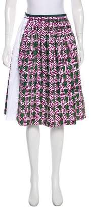 Sophie Theallet Printed Pleated Knee-Length Skirt w/ Tags