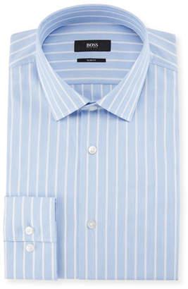 BOSS Jenno Slim Fit Textured Stripe Dress Shirt